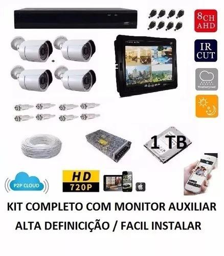 Kit 4cameras Completo Cftv + Monitor + Acessórios Fácil Inst