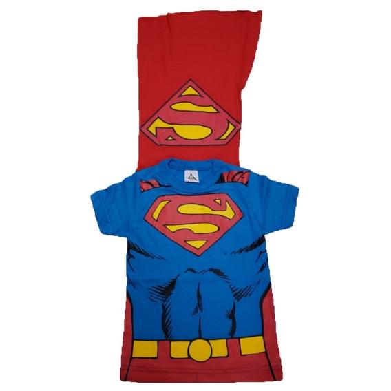 02 Camisas Festas Infantil Crianças Com Capa De Herói