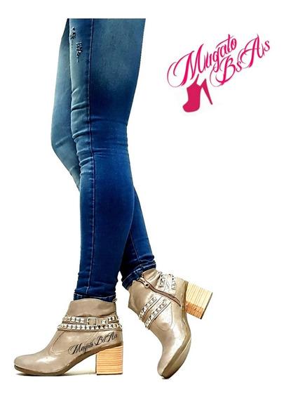 Botas Zapatos Botinetas Mujer Escote Tachas Punta Abierta Taco Bajo Mugato-bsas®