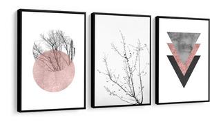 Kit Quadro Abstrato Flores Tons Rose Sala Quarto Novidade