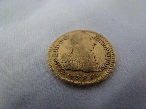 Moeda Ouro 22k Espanha Carol 3° 1777 3.4 Gramas