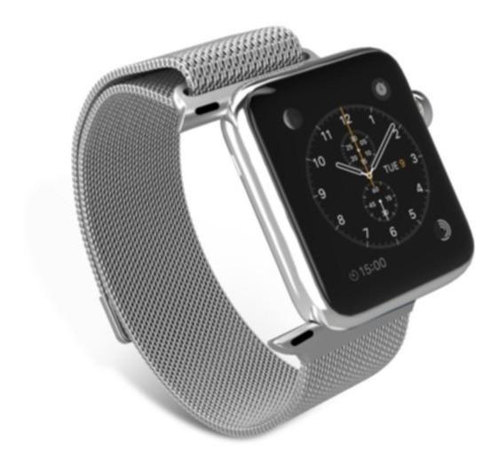 Pulseira Milanese Para Apple Watch 42mm Aço Inoxidavel Prata