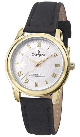 Relógio Feminino Dourado Champion Couro Números Romanos + Nf