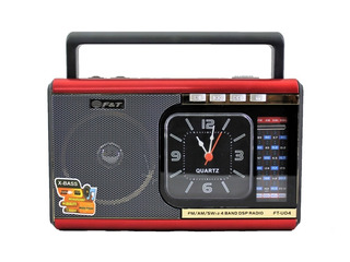 Radio Am Fm Portatil Usb Sd Aux Luz/led Recargable Ft-u04