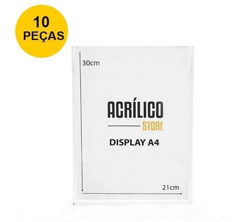 Display Em Acrílico Duplo A4 Vertical (21x30cm) - 10 Peças