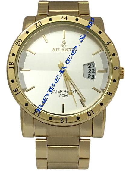 Atacado Relógio Masculino Atlantis Douradol Com Calendário