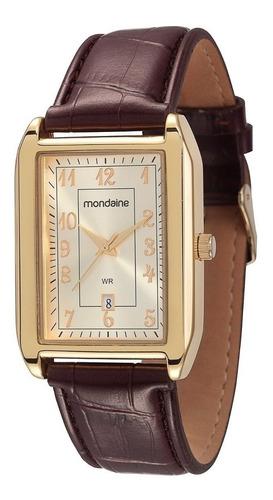 Relógio Mondaine C/ Caixa Em Metal E Pulseira Em Couro