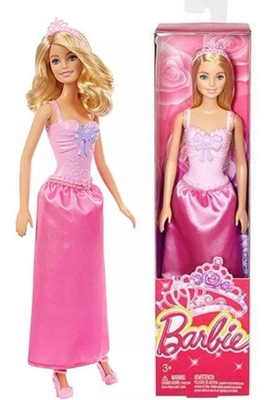 Barbie Princesa Loira Básica Rosa Coroa Mattel Origina Dmm07