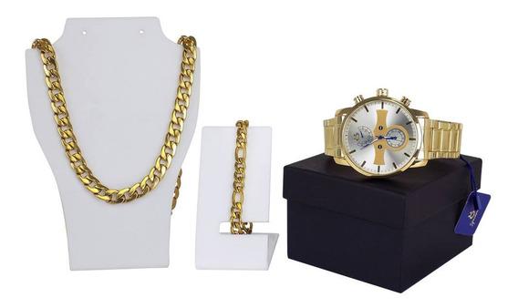 Relogio Masculino Dourado-brindes Adicionais Colar+pulseira