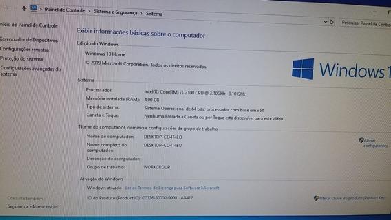 Cpu Intel Core I3 3.10ghz 4gb Memória Windows 10 Formatado