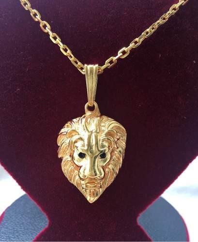 Cordão Cadeado Banhado A Ouro 70cm + Ping Leão Frete Grátis