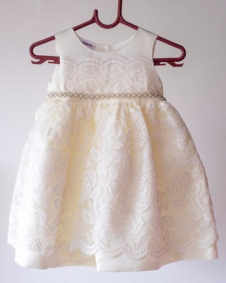 Vestido De Festa De Luxo Para Bebê 12 Meses Cor Creme