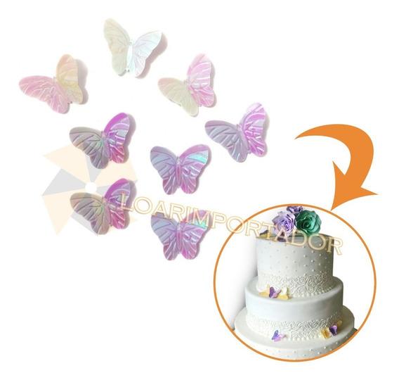 100 Mariposas Tornasolada Deco Tocados Disfraz
