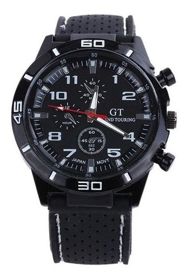 Relógio Masculino Com Pulseira De Silicone Preto Com Branco