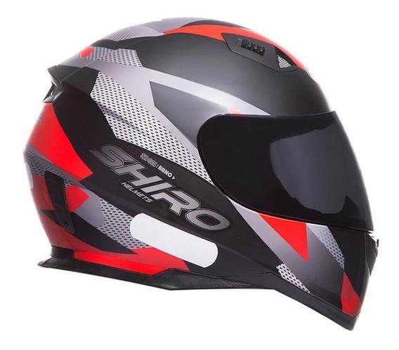 Capacete Shiro Sh881 Brno Preto Fosco/vermelho Rs1
