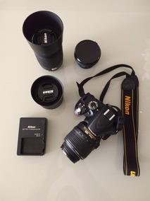 Câmera Digital Slr Nikon D3200 / Lentes 18-55 / 35 / 55-200