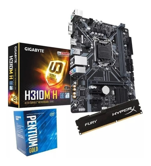 Kit 8ª Ger Gigabyte H310m-h + Pentium Gold G5400 + 4gb Ddr4 Nfe