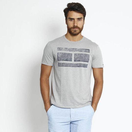 Camiseta Com Logo Marca Cinza & Azul Marinho Tommy Hilfiger