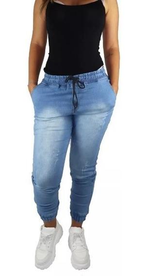 Calca Jeans Feminina Escura Dia A Dia Com Elástico