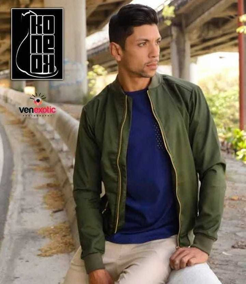 Chaqueta Bomber Jacket Unicolor Verde Tallas S M Y L