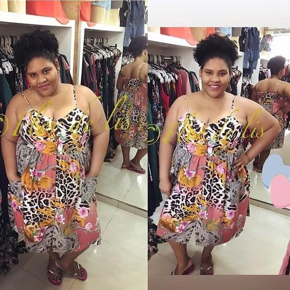 Vestido Mid Viscose 100%algodao 44ao64 Flor De Lis Plus Size