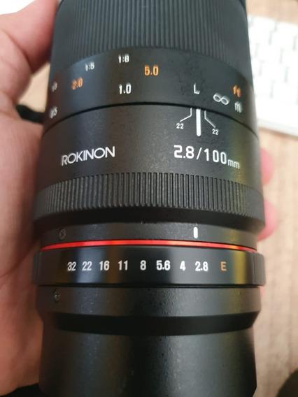 Rokinon 100mm F/2.8 Macro P/ Cam. Sony Alpha A6500 A7ii