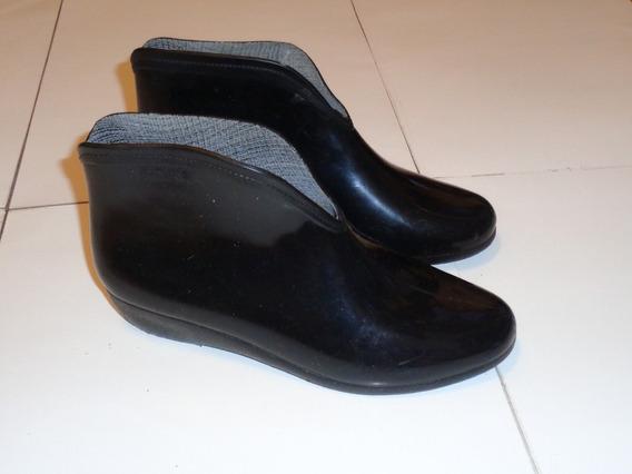 Botas Cortas De Lluvia Para Dama Charoladas Negras - Nro. 35