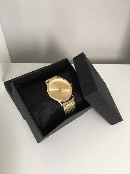 Relógio Feminino Dourado + Caixa De Presente
