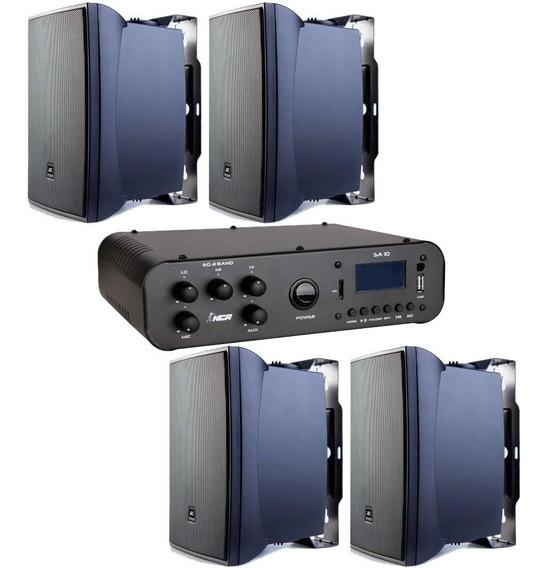 Som Ambiente Amplificador Sa 10 + 4 Caixas Jbl 621 P