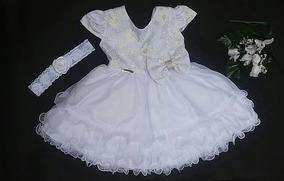Vestido Bebê Branco Batizado Luxo Renda + Faixa De Cabelo