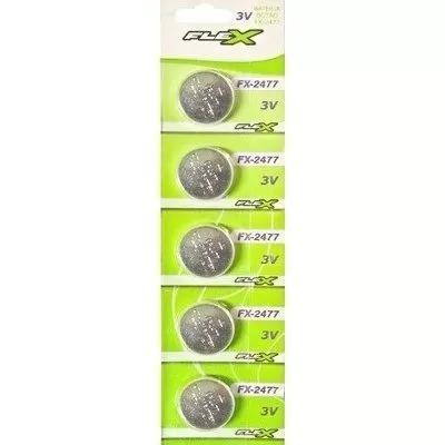 Cartela 5 Baterias Botao Cr2477 3v Flex