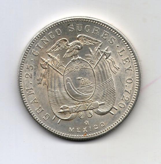 Ecuador Moneda 5 Sucres 1943 Plata Km#79 - Argentvs