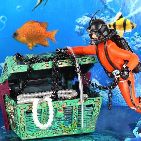 Enfeite De Aquário Mergulhador Caçador De Tesouro Ornamentos