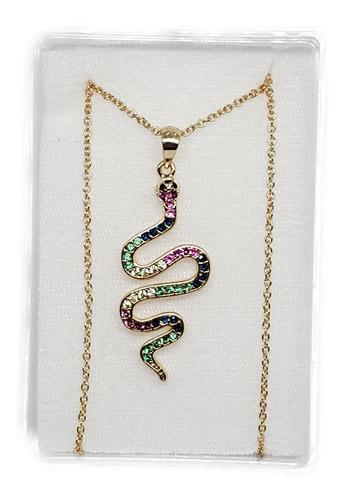 Imagen 1 de 3 de Collar De Serpiente Y Zirconias 1 Pz De Oro Laminado+estuche