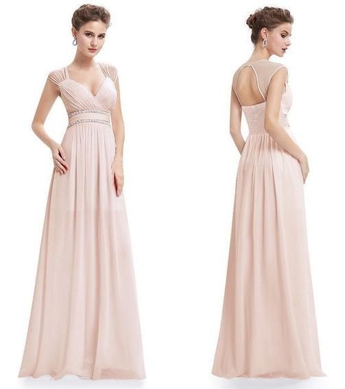Vestido Largo Color Rosa Dior Importado