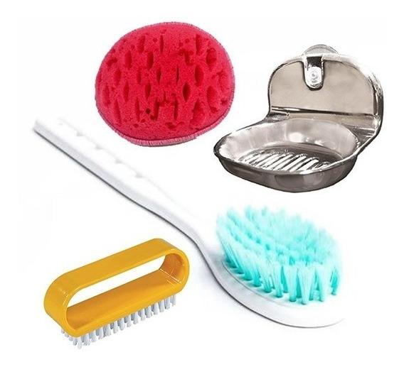 Kit Acessorios Para Banheiro - Escova Esponjas E Saboneteira