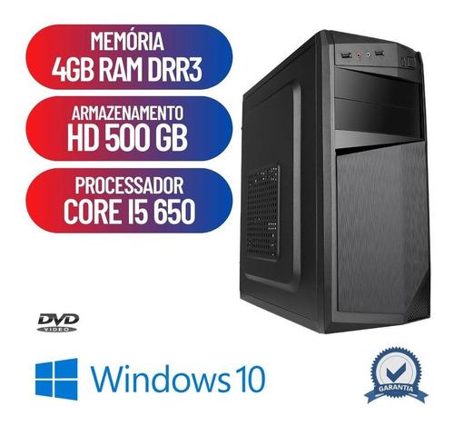 Imagem 1 de 8 de Pc Desktop Montado Core I5 4gb Hd 500gb Win10 Hdmi