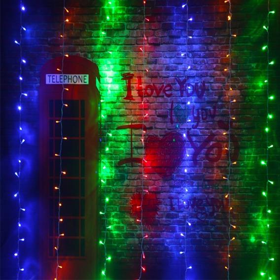 Cortina Led Multicores 8 Modos Leds Coloridos 2m X 2m