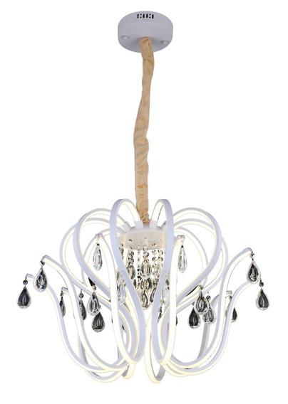 Lustre Pendente Led Neon E Cristais 10 Braços 66x33cm 4500k