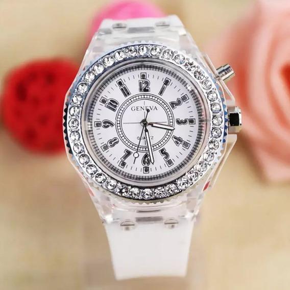 Relógio Feminino Geneva Led Várias Cores Pulseira Original
