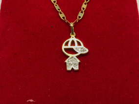 Colar Corrente Ouro 18k Piastrine Pingente Menino Diamantes
