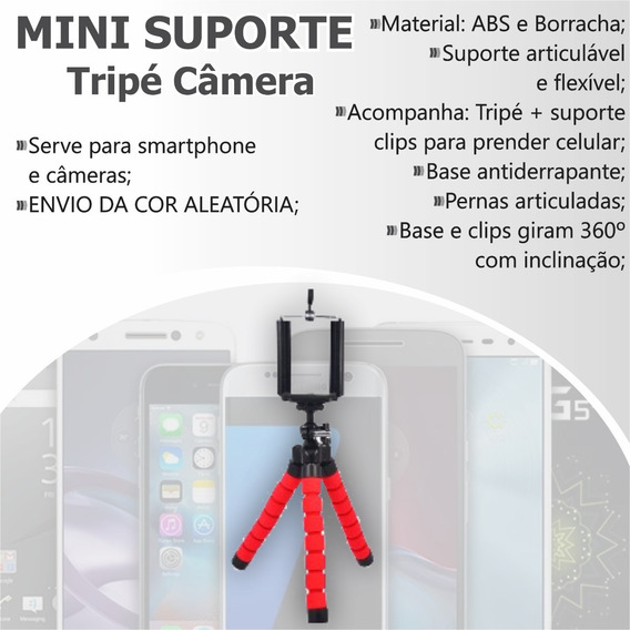 Mini Suporte Tripé Câmera Celulares Fotos Flexível Universal