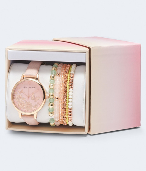 Relógio Feminino Aeropostale Com Kit De Pulseiras Na Caixa