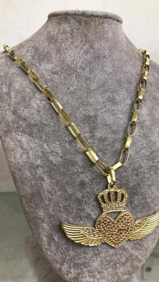 Cordão De Prata 950 Banhado A Ouro 24k, Pingente Com Pedras