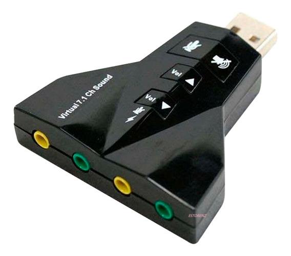 Placa De Som Usb 7.1 Canal Virtual Adaptador Audio 4 Porta