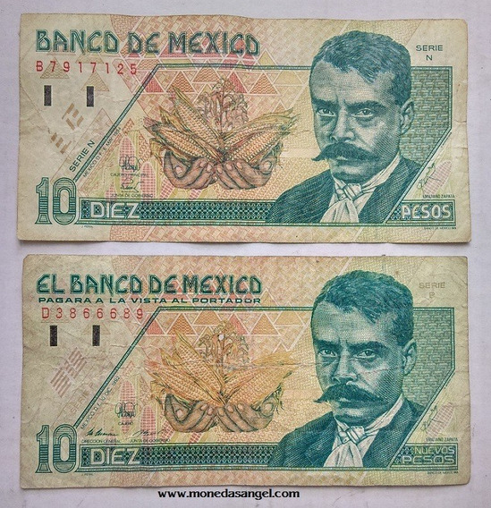 Par De Billetes De 10 Peso Emiliano Zapata