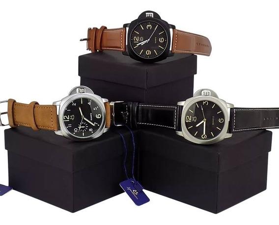 Kit 3 Relógios Masculino Original Couro Luxo Barato Atacado
