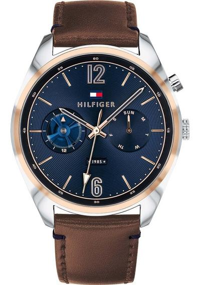 Relógio Tommy Hilfiger Azul Couro Marrom 1791549