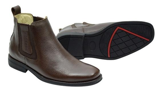 Botina Conforto Atron Shoes Em Couro Na Cor Café