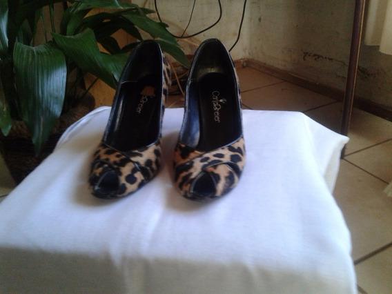 Zapato Stiletto De Cuero Print Leopardo